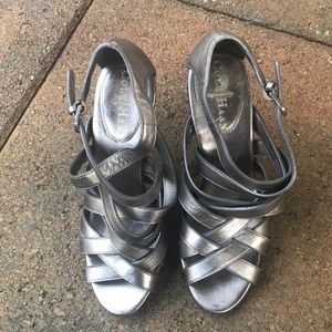 Cole Haan Pewter Strappy Sandals
